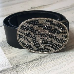 •EXPRESS• Black Leather Belt w/ Rhinestone Buckle